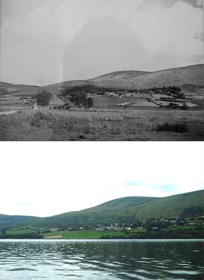 A view of ballyknockan pre 1939 and today